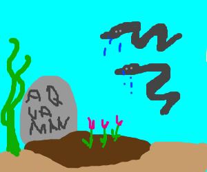 Two Eels mourn Aquaman's underwater grave