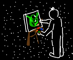 a man painting on a canvas