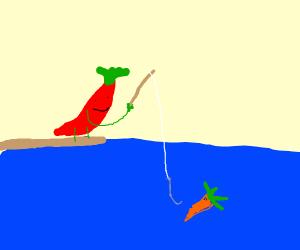 Pepper fishing a carrot