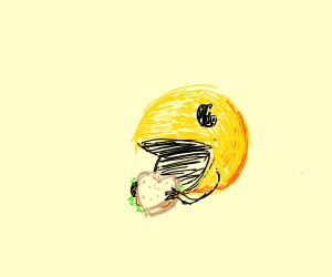 Pacmanface eats hart sandwich