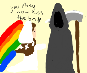 woman marries death with rainbow at the back