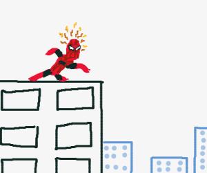 Spiderman ontop of a building sensing smthng
