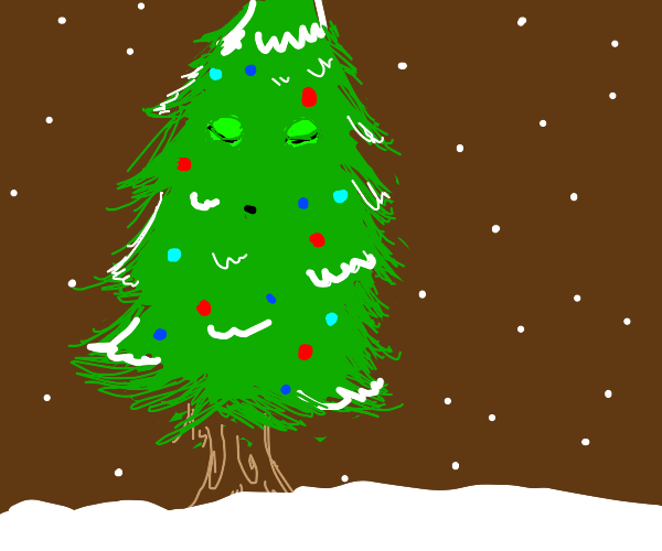 Christmas tree with closed eyes