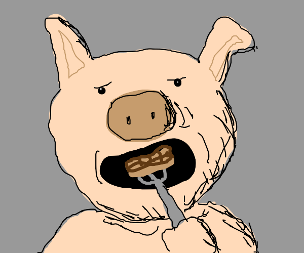 grotesque pig enjoying some waffles