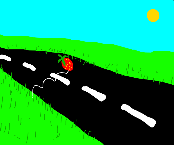 Strawberry jumping across road