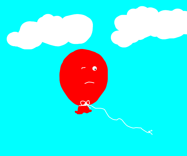 Lonely red balloon after the other 98 popped