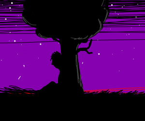 dude hiding behind a tree