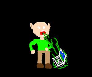 Elf vomiting a Notebook