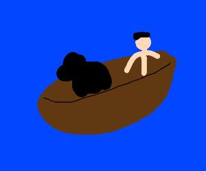 Skinny man & bear pilot a sail boat