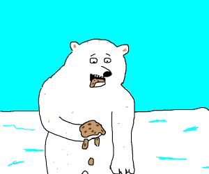 polar bear eating mushed cookie