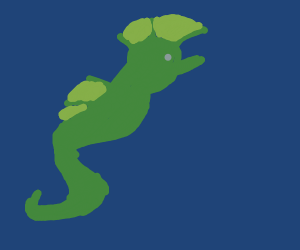 A seahorse swimming under the sea