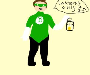 Green lantern man selling lanterns