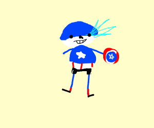 Sans in Captain America's outfit