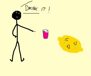 stickman forcing lemon to drink liquid