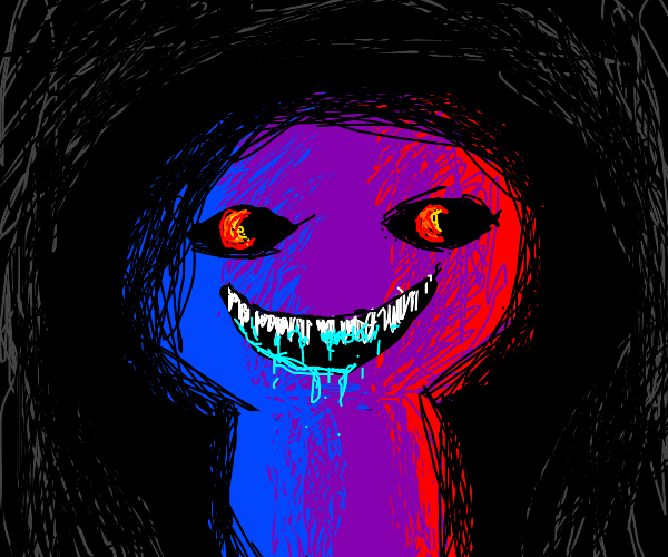 blue and purple/red monster in the dark