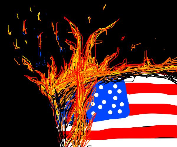 USA flag on fire