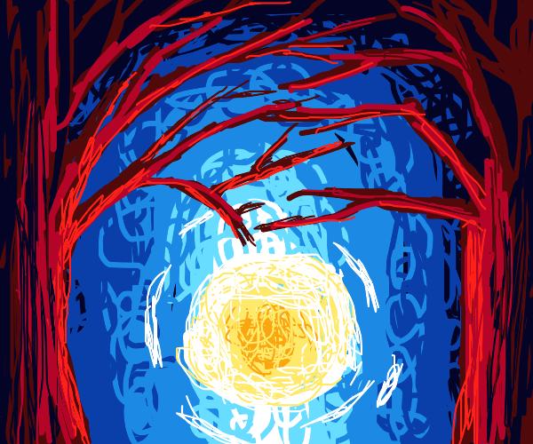 The trees pat the sun on the head