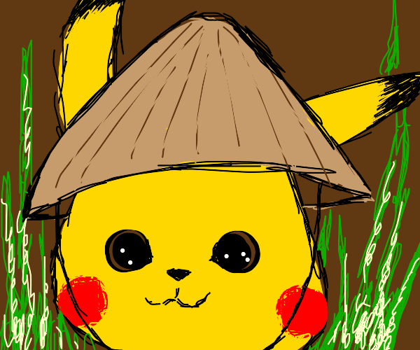 Detective Pikachu wears a rice paddy hat