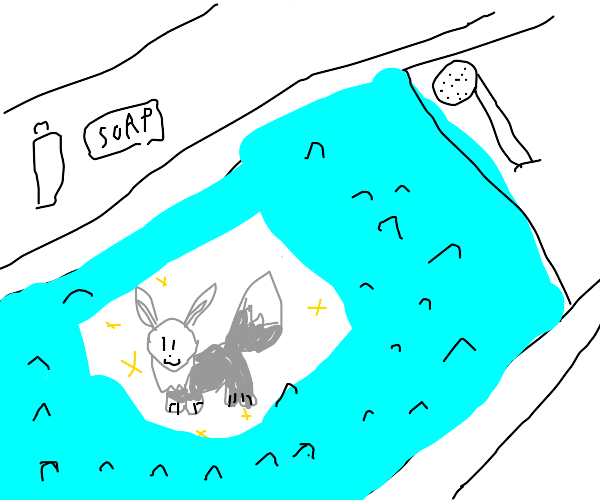 Small Shiny Eevee taking bath