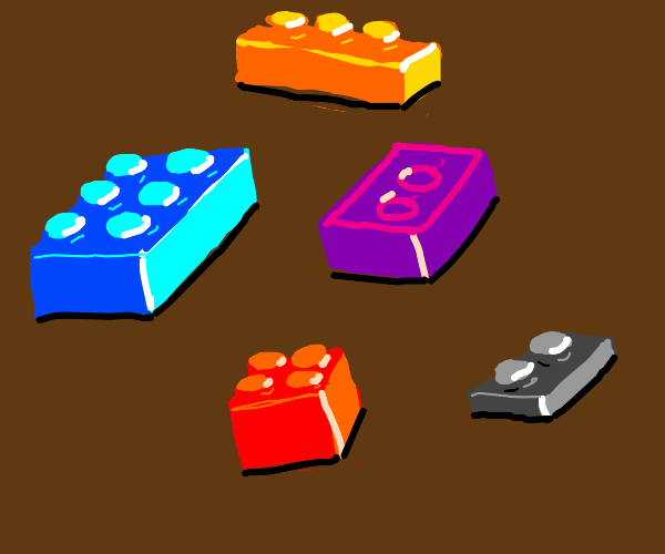 five Legos of different colors