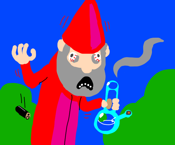 Tall garden gnome smokes weed in agony