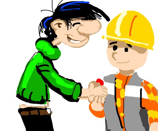 Gaston meets Bob the Builder