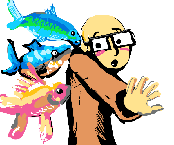 Fish are attacking a bald man