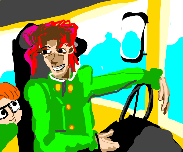 Kakyoin drives a schoolbus