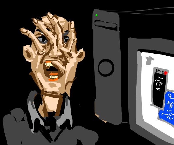 computer frustration merges hand with face