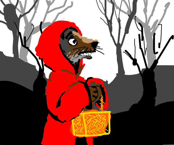 Wolf is pretending to be red riding hood
