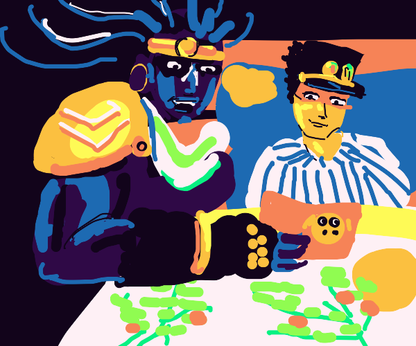 star platinum reading a book to jotaro in bed