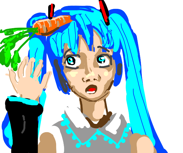 hatsune miku with a carrot in her hair