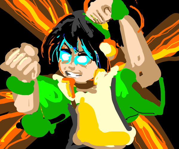Toph with glowing blue eyes