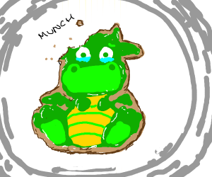 dragon cookie gets bitten (cute drawing!