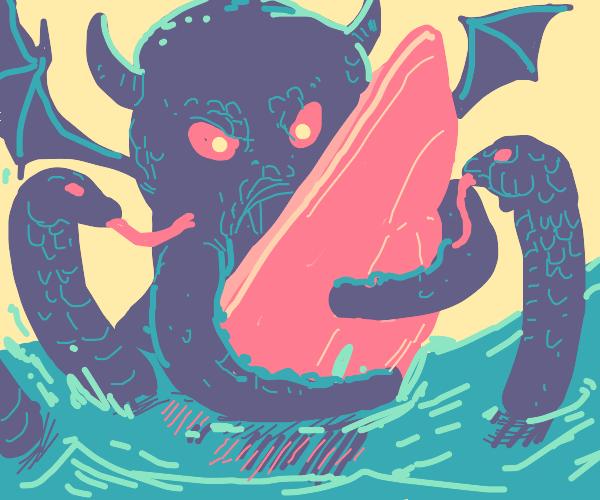 Kraken-snake-demon takes over a boat