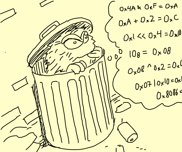 Oscar the Grouch doesn't think in binary