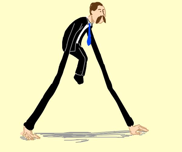 Long arm moustache man can walk