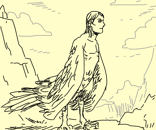 harpy man or just a man with a lot of feather