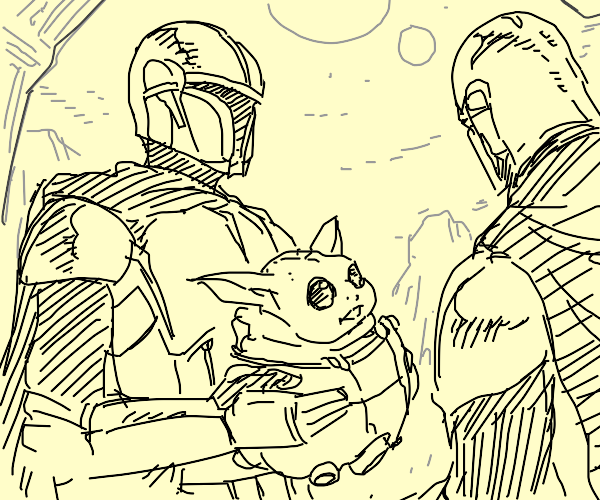 Two mandalorians and a baby yoda.