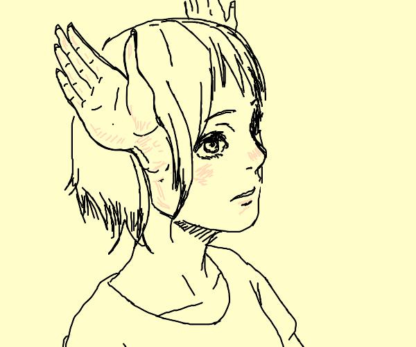 girl has hands as ears