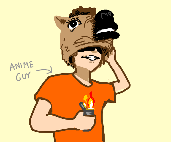 Grinning Disguised anime guy with lighter
