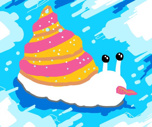 A snowman snail with an ice cream shell