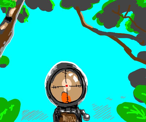 sniper pov on a tree