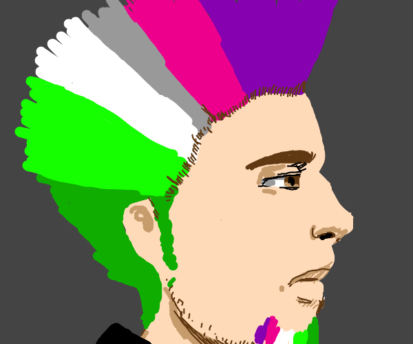 man with pink to white to green hair