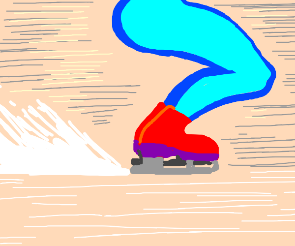 leg with red shoe goes fast