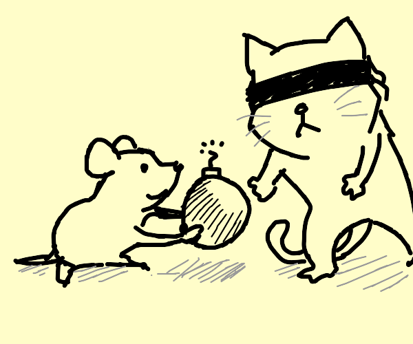 mice is giving bomb to blindfolded cat