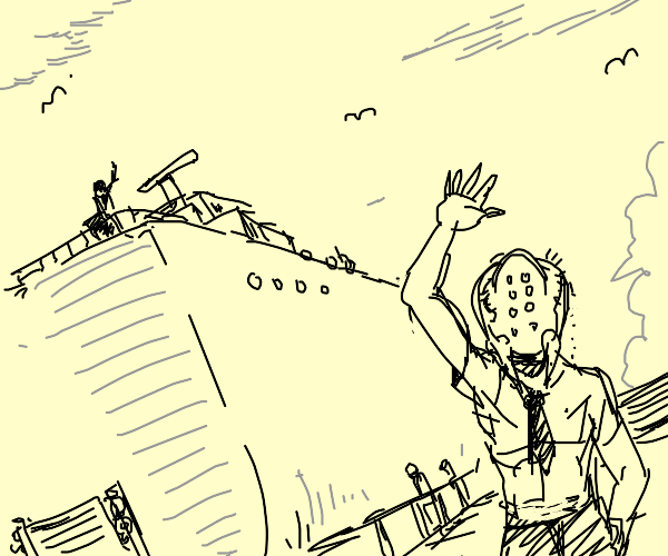 Spider-headed man bids farewell to the ship