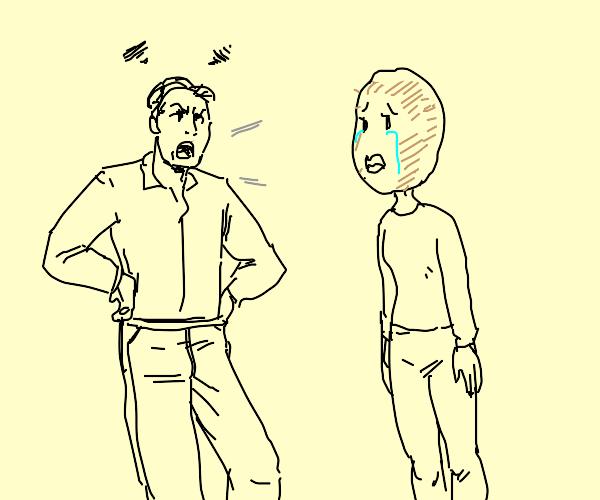 Man angry at potato head woman