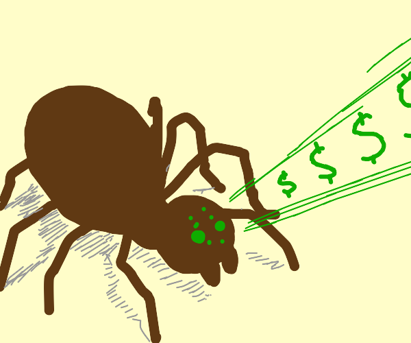 spider firing money laser out of its eyes