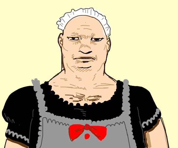 Fat bald man in a maid outfit